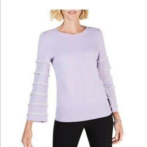 Alfani purple fringe scoopneck sweater